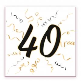 Set de 20 Servilletas 40 Cumpleaños