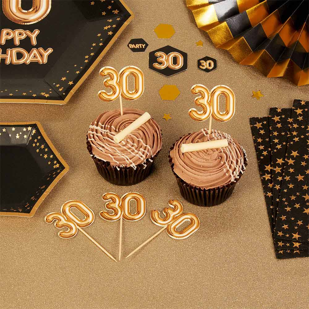 Set de 20 toppers para fiesta 30 años en color oro