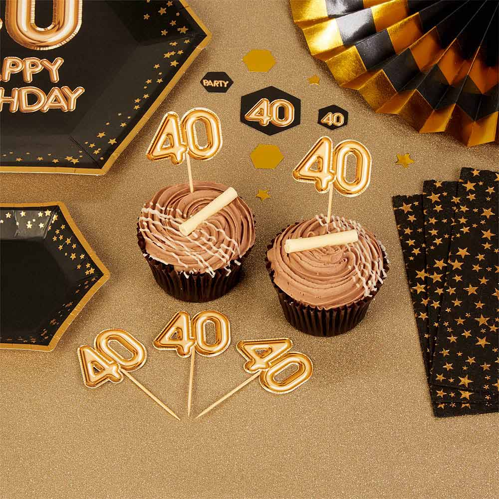 Set de 20 toppers para fiesta de 40 años en color oro