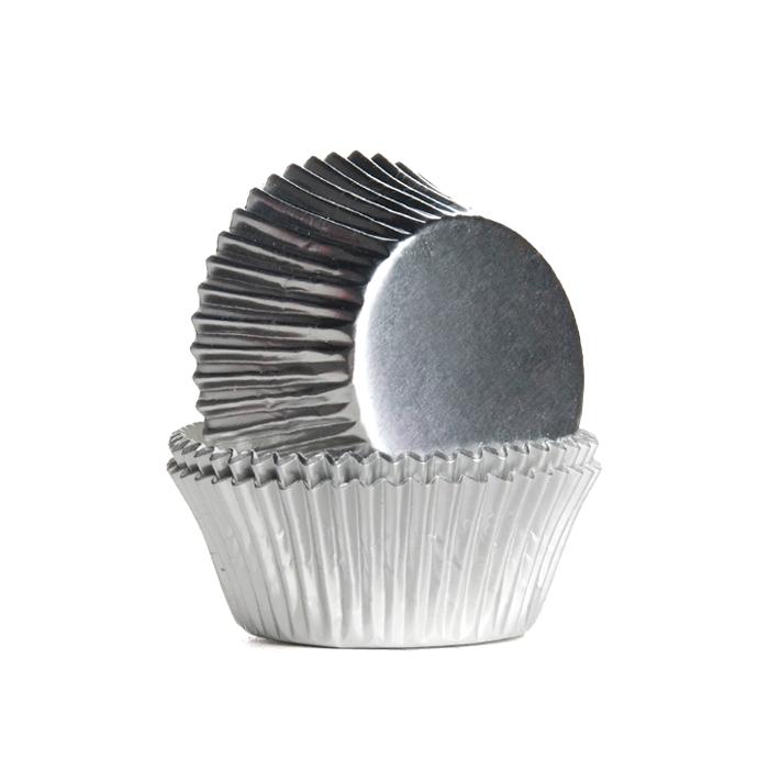 Set de 24 Cápsulas para Cupcakes Plateadas