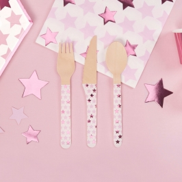 Set de 24 cubiertos de madera con estrellas en tonos rosas