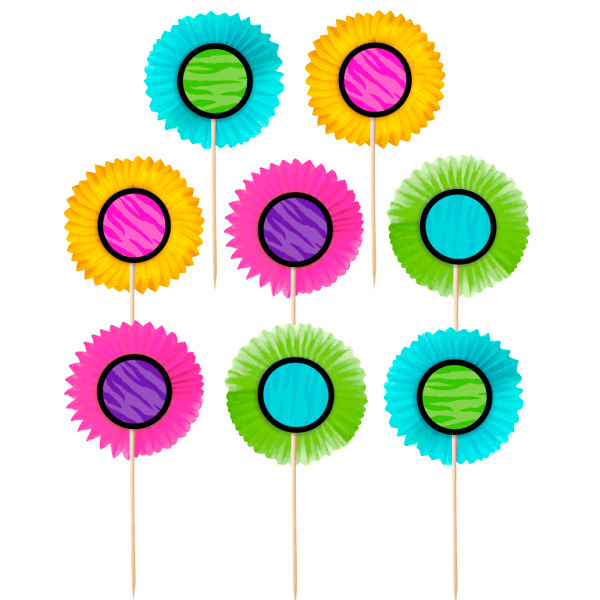 Set de 24 toppers abanicos de colores comprar online my for Abanico de colores