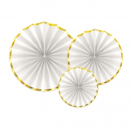 Set de 3 Abanicos Blancos y Dorados