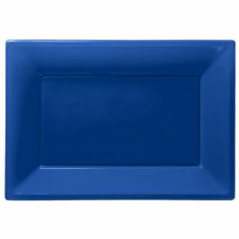 Set de 3 Bandejas Azul Oscuro 33 cm x 23 cm