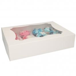 Set de 3 Cajas para 12 Cupcakes Blancas