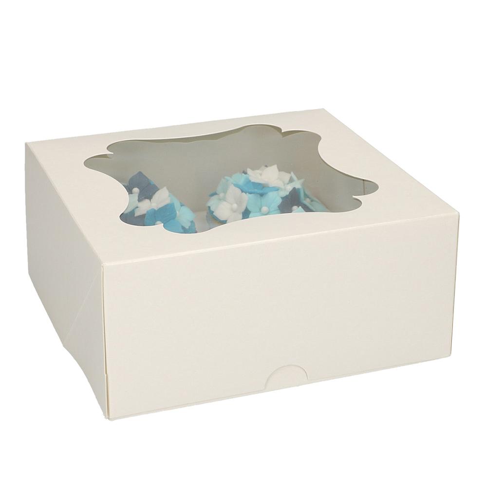 Set de 3 Cajas para 4 Cupcakes Blancas