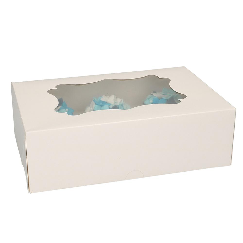 Set de 3 Cajas para 6 Cupcakes Blancas