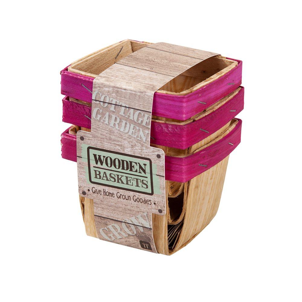Set de 3 canastitas de madera para dulces