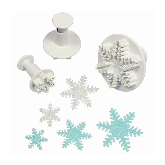 Set de 3 cortadores con expulsor copo de nieve Ibili