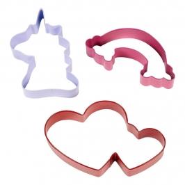 Set de 3 Cortadores Unicornio, Arcoíris y Corazón