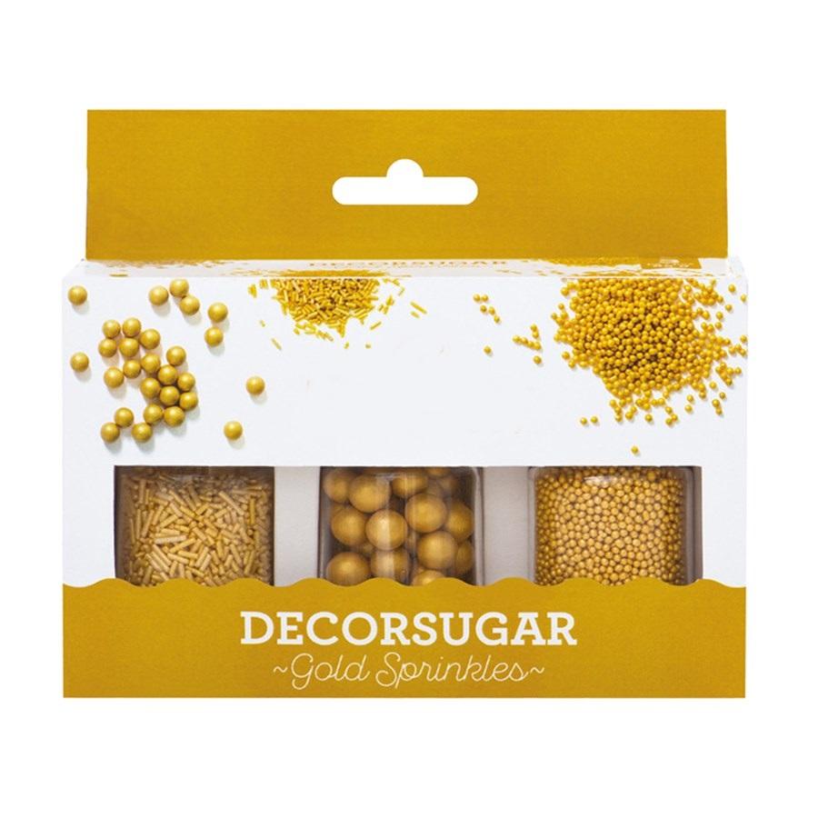 Set de 3 Decoraciones de Azúcar Oro