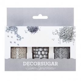 Set de 3 Decoraciones de Azúcar Plata