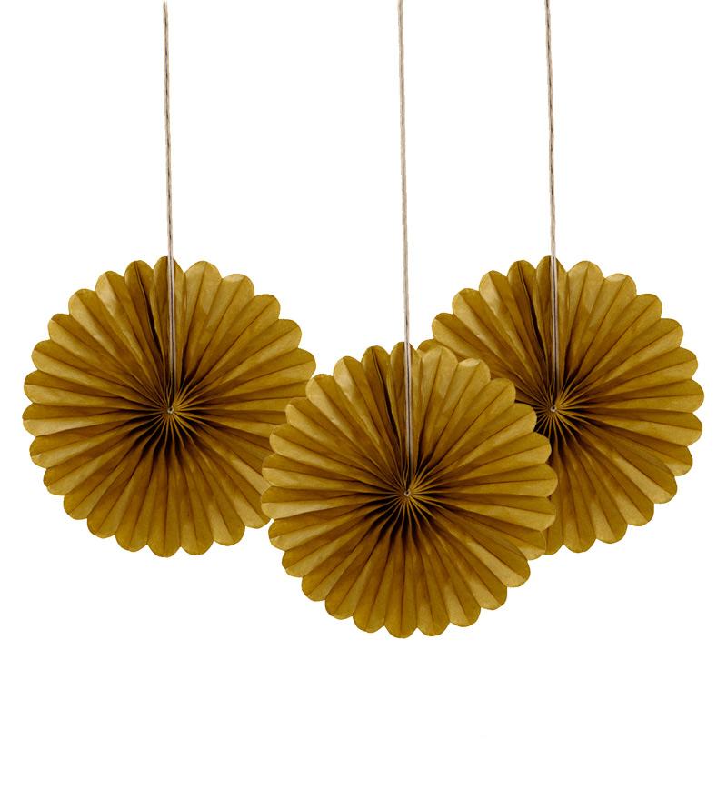 Set de 3 Mini Abanicos Oro 15 cm