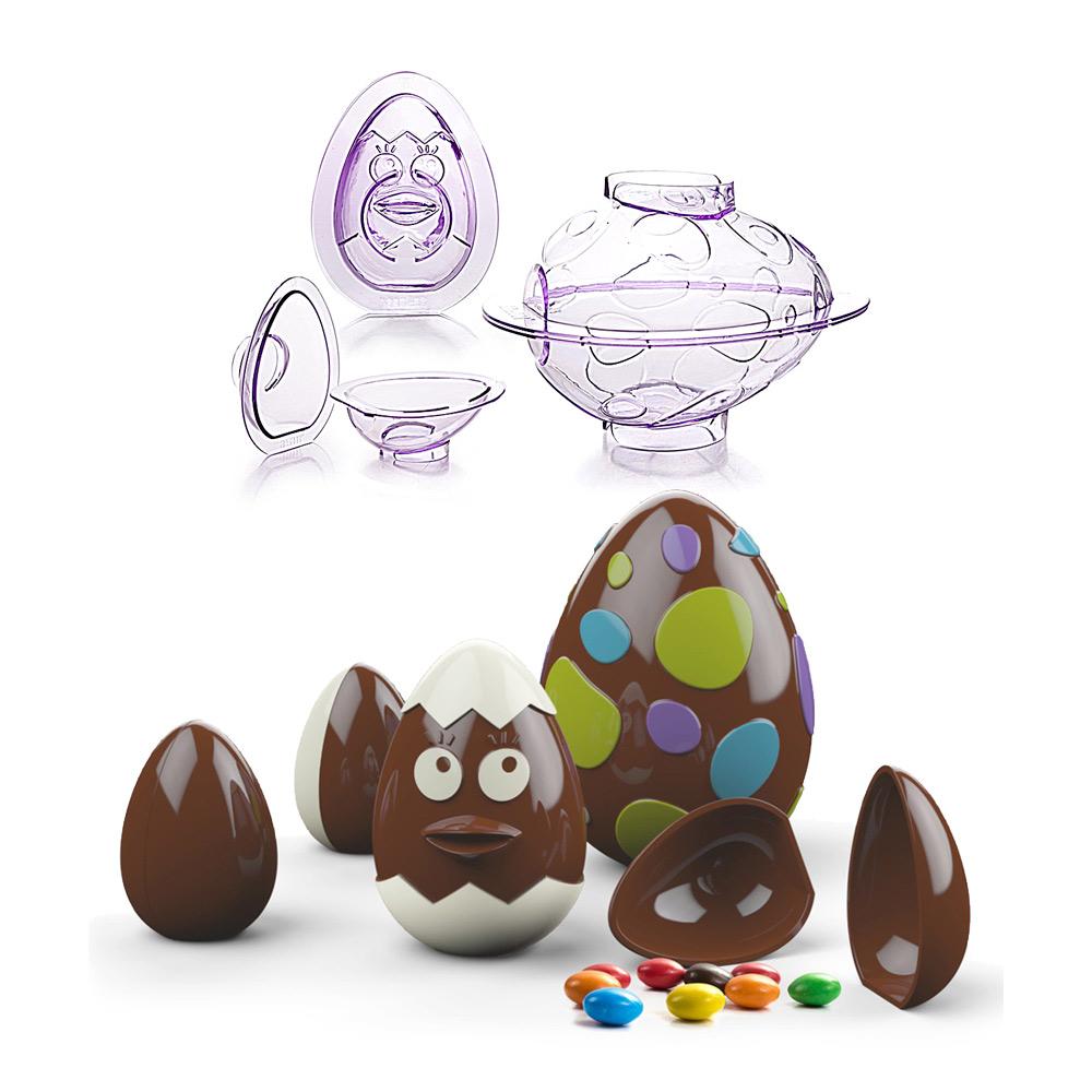 Set de 3 moldes de policarbonato para hacer huevos de Pascua 3D de chocolate