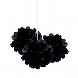 Set de 3 Pompones Negros 22 cm