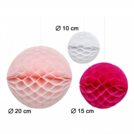 Set de 3 Pompones Nido de Abeja Blanco, Rosa y Fucsia