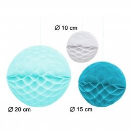Set de 3 Pompones Nido de Abeja Blanco y Azul