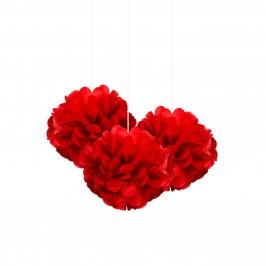 Set de 3 Pompones Rojos 22 cm