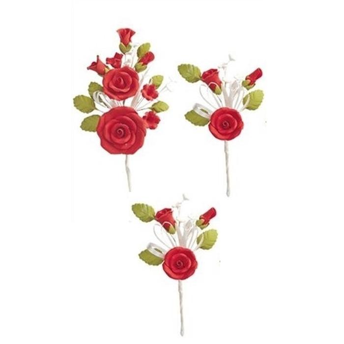 Set de 3 Ramos de Rosas Rojas de Azúcar