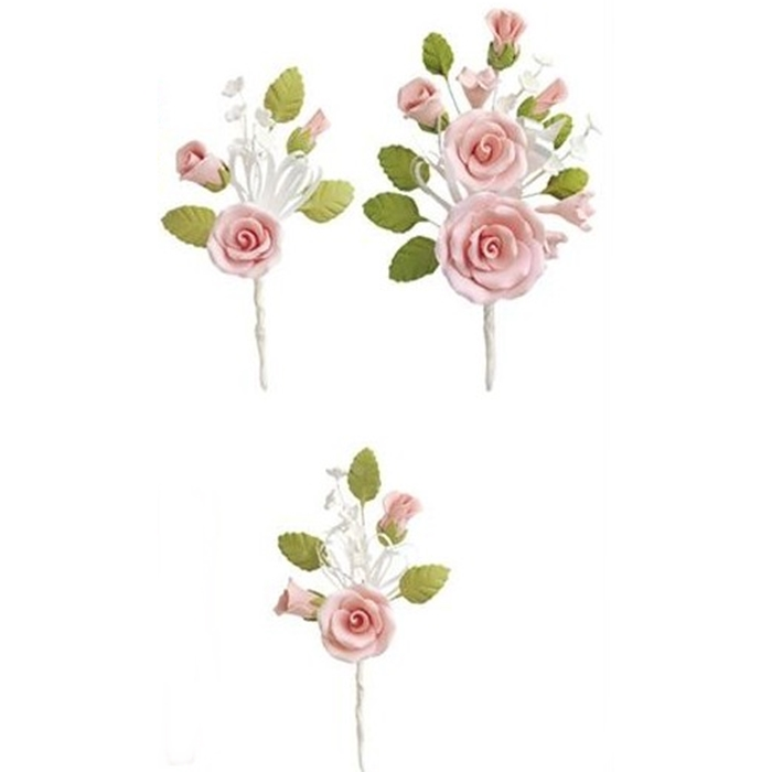 Comestibles Azúcar Rosas Dorado Flores Rojas ramo de Navidad Decoraciones para Pastel Topper