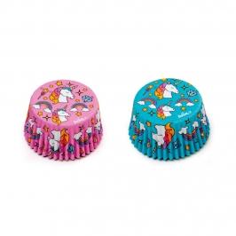 Set de 36 cápsulas para cupcakes con estampados de unicornios