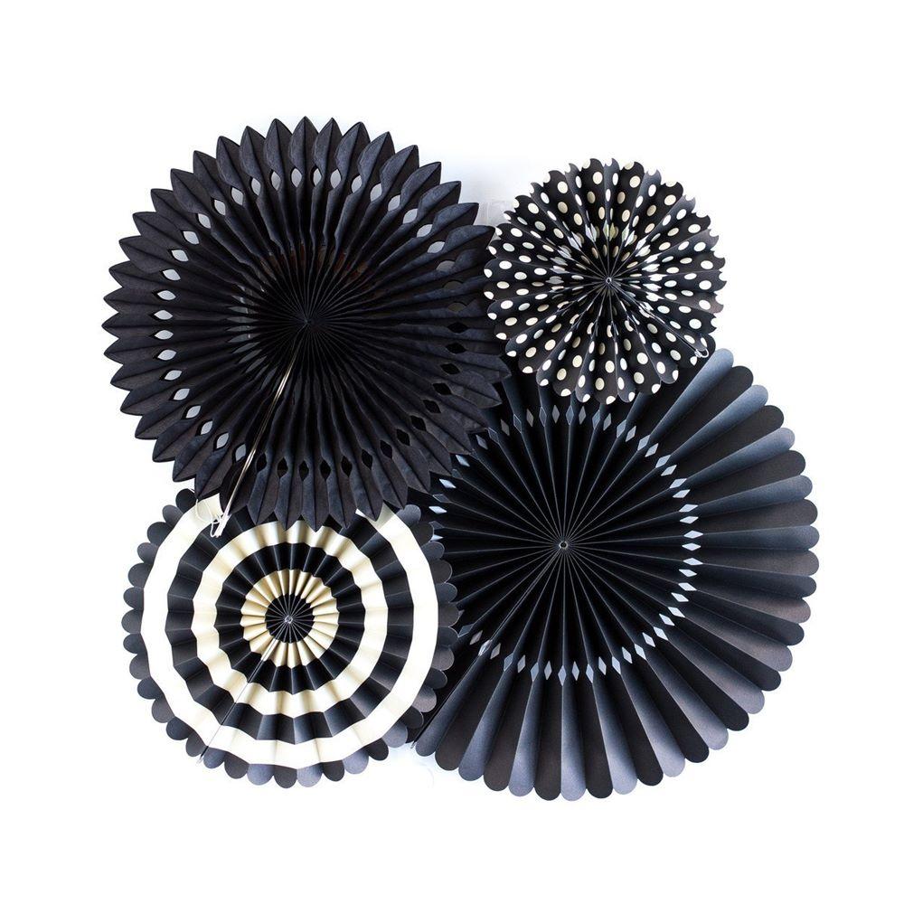 Set de 4 abanicos Decorativos color Negro Intenso