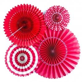 Set de 4 abanicos decorativos rojos con detalles blancos