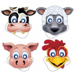 Set de 4 Caretas de Animales de Granja