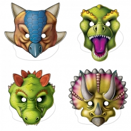 Set de 4 Caretas de Dinosaurios