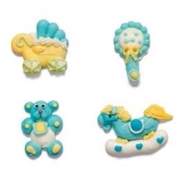 Set de 4 figuras de azúcar bebé niño