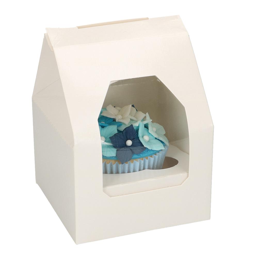 Set de 5 Cajas para 1 Cupcake Blanca