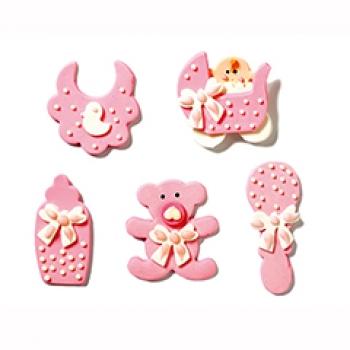 Set de 5 decoraciones de azúcar bebé niña