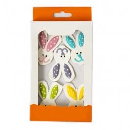 Set de 5 decoraciones de Azúcar Cara de Conejo