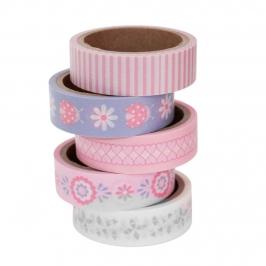 Set de 5 masking tape de bebé rosas con 5 diseños diferentes de 5 metros