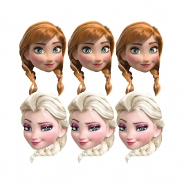 Set de 6 Caretas Elsa y Anna Frozen