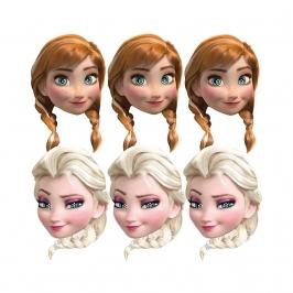 Set de 6 Caretas Elsa y Anna Frozen