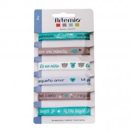 Set de 6 cintas de bebé azul con 6 diseños diferentes de 1 metro