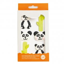 Set de 6 Decoraciones de Azúcar Panda