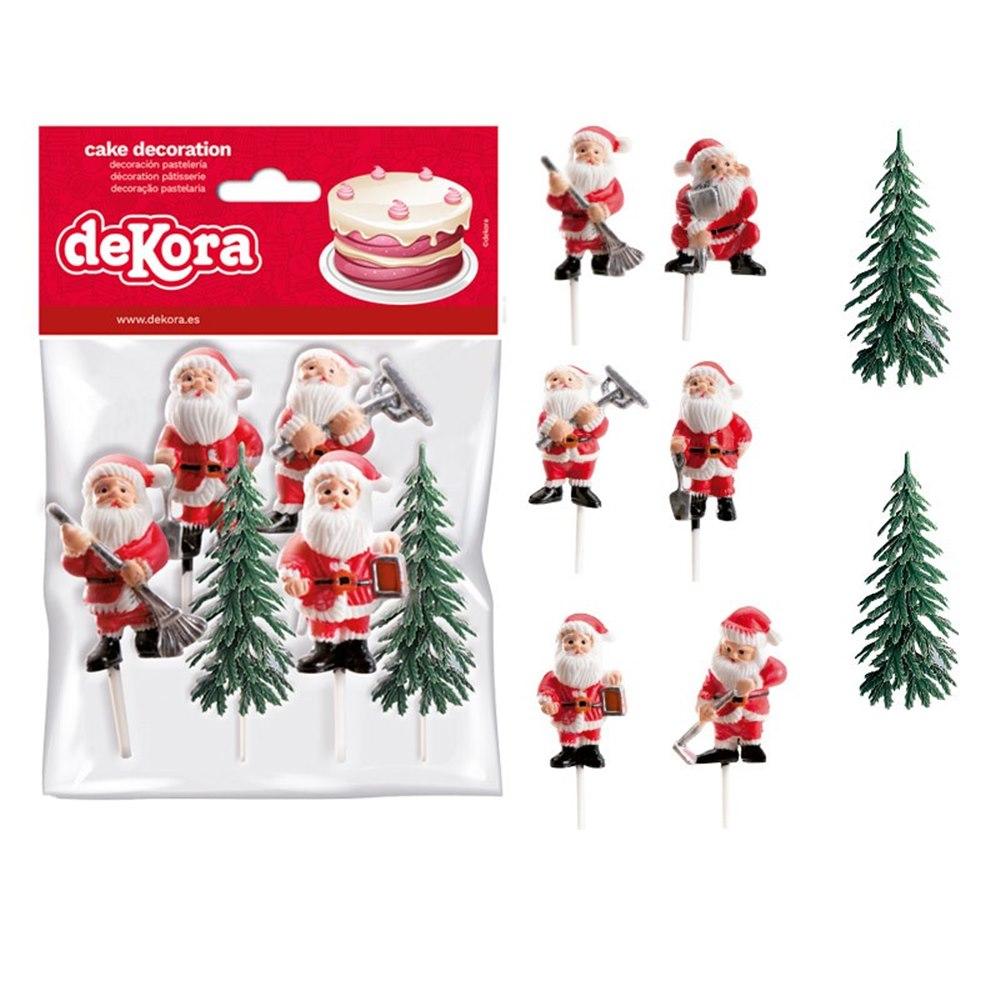 Set de 6 Decoraciones para Tartas Papá Noel