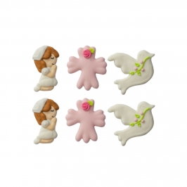 Set de 6 figuras de Azúcar Comunión Niña