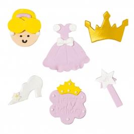 Set de 6 figuras de azúcar Princesa