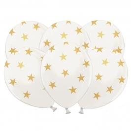 Set de 6 globos blancos con estrellas doradas