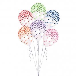 Set de 6 Globos Confeti Multicolor 27cm