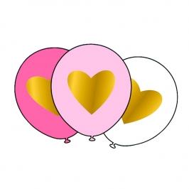 Set de 6 Globos Corazón Dorado