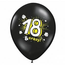 Set de 6 Globos cumpleaños 18 & Crazy negros de 30 cm