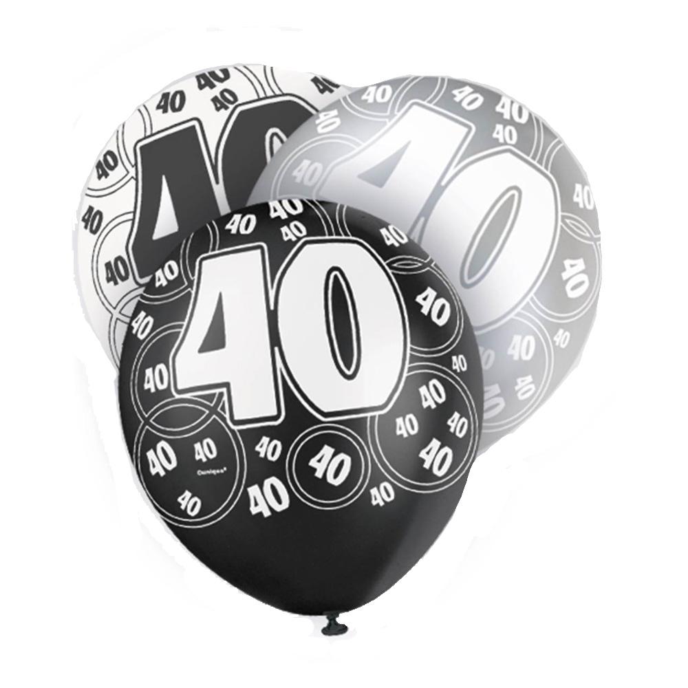 Set de 6 globos de 3 colores para 40 cumpleaños Black Glitz