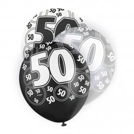Set de 6 globos de 3 colores para 50 cumpleaños Black Glitz