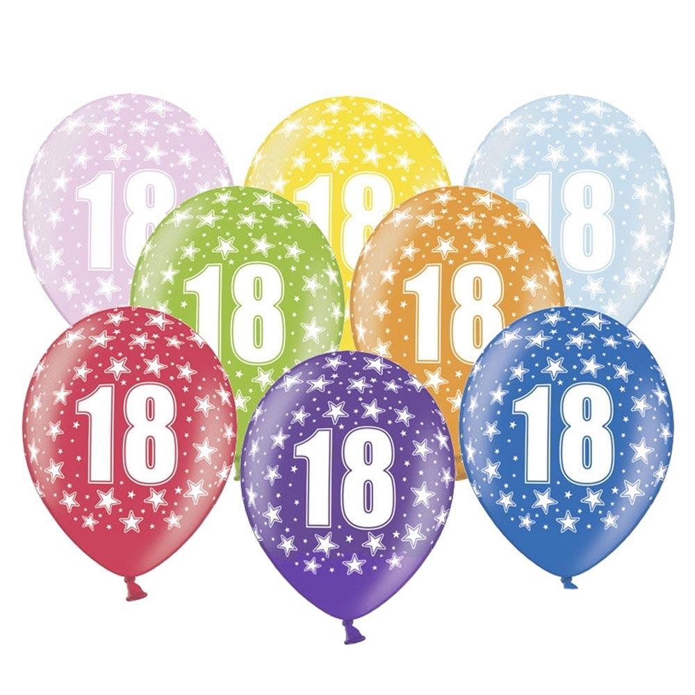 Set de 6 globos de látex de 18 cumpleaños de 30 cm de alto