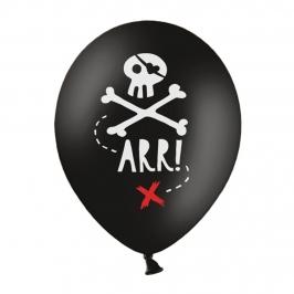 Set de 6 globos de látex negros de pirata de 30 cm