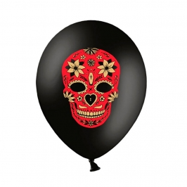 Set de 6 Globos Día de Los Muertos, Pastel Black 30 cm
